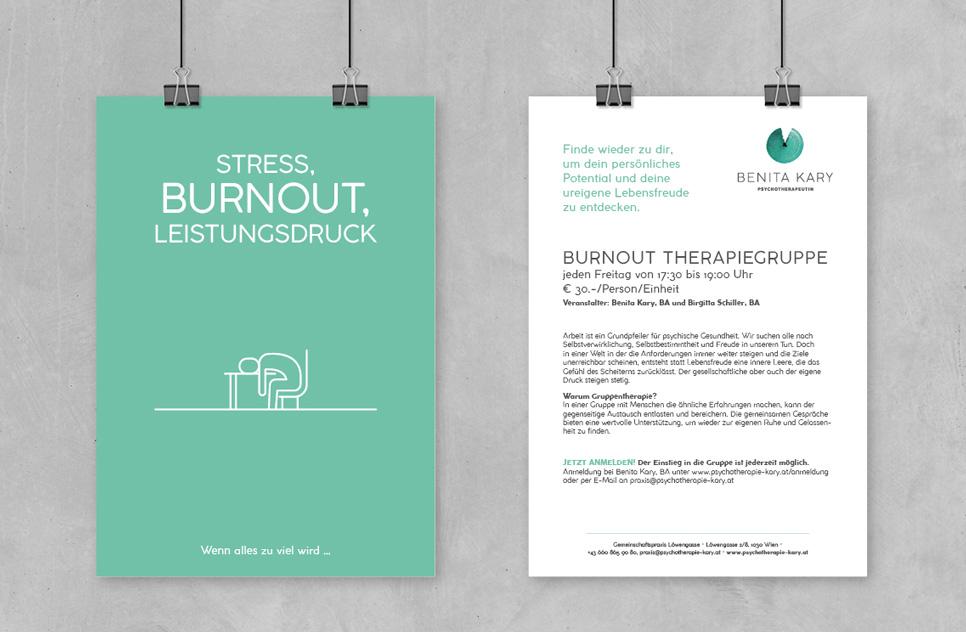 Flyerdesign für Psychotherapie Kary