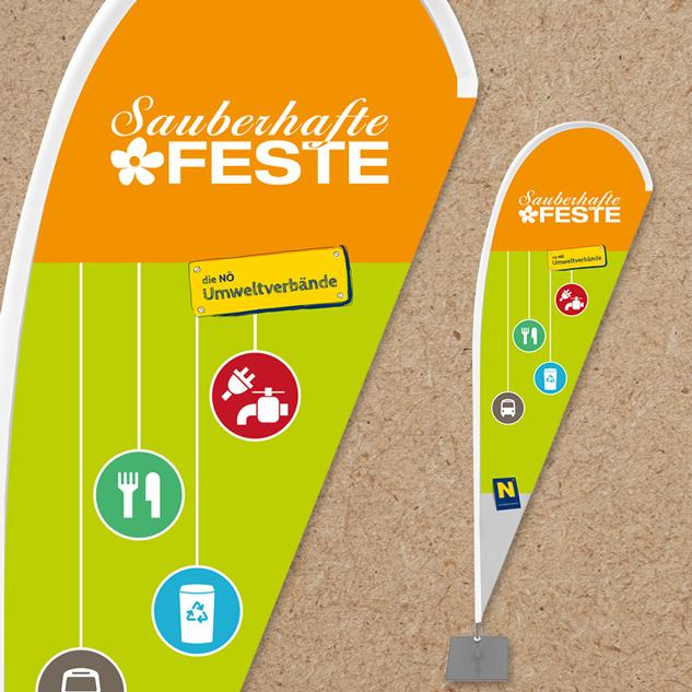 Gestaltung von Beachflags für Sauberhafte Feste NÖ.