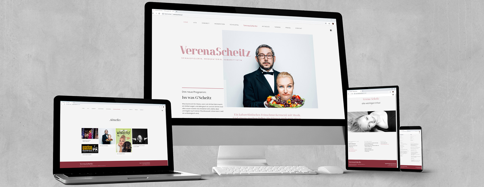 Webseite für Moderatorin und Kabarettistin Verena Scheitz auf Basis von WordPress